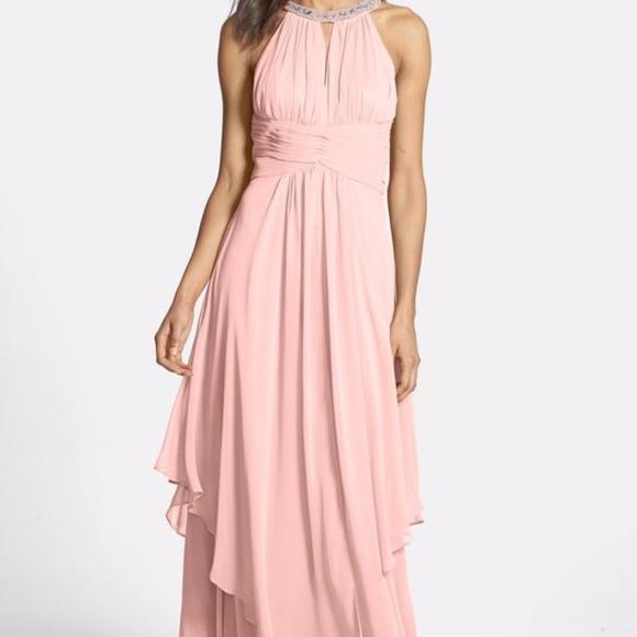 Nordstrom Dusty Rose Jewel Halter Gown